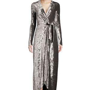 BCBGMAXAZRIA Velvet Ruched Midi Dress